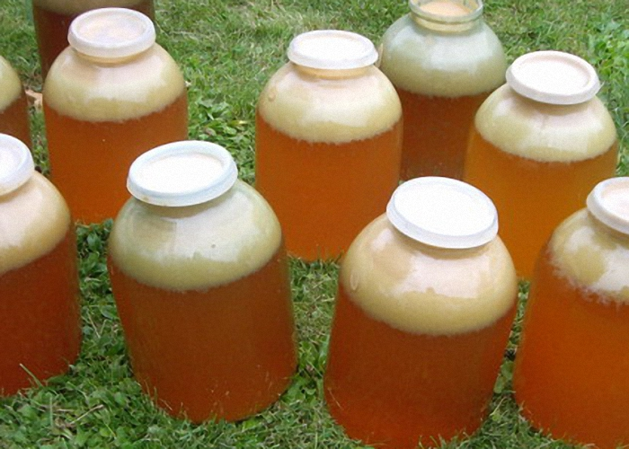 Полученный яблочный сок перелить в трех-пяти литровые банки