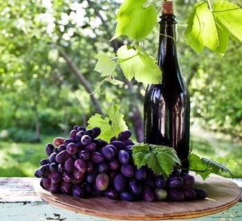 На травах вино